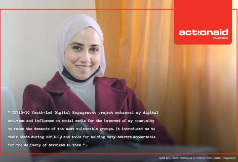 "Photo of Rafeef who is a young female participant in the project of ""COVID-19 Youth-Led Digital Engagement"" that AAP launched to leverage the use of technology to support the work of young people in holding duty bearers to account.Hebron -West Bank -Palestine -Copy Rights  for ActionAid Palestine 2021."